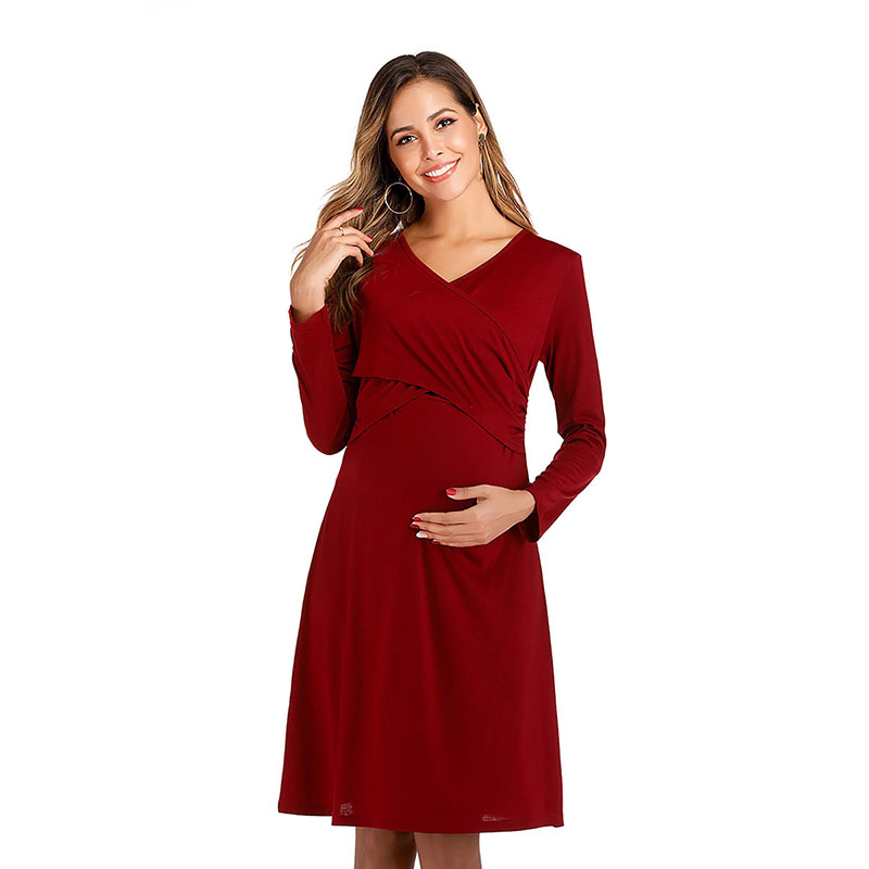 Simple Cocktail Dresses Full Sleeve Ruched V-Neck Above Knee Comfy Pregnant Woman Casual Mermaid Party Dresses Vestido Coctel