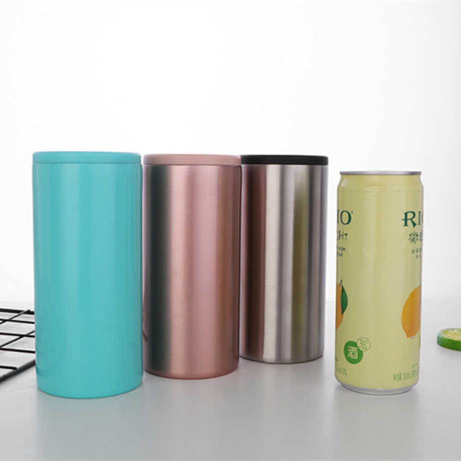 12Oz Kurus Dapat Cooler 350Ml Slim Botol Bir Dingin Keeper 18/8 Stainless Steel Double Wall Insulated Vacuum Cola pemegang Tumbler