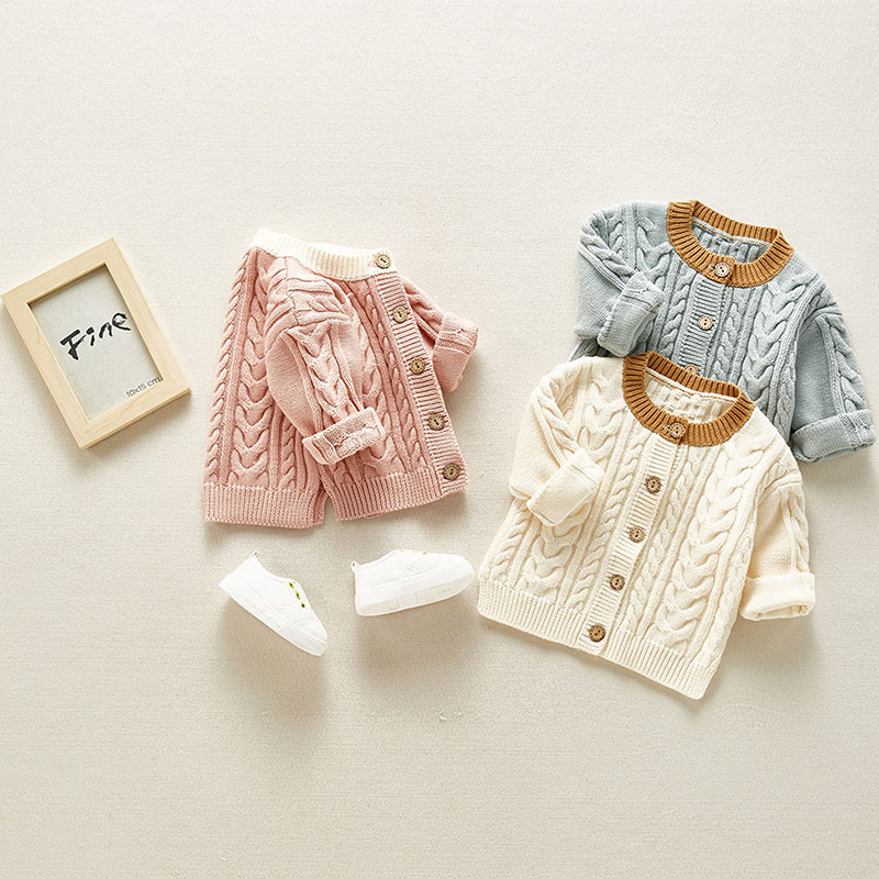 2020 Spring Newborn Baby Boys Girls Sweater Coats Brand Cotton Knit Solid Cardigan Button Jacket Boys Girls Infant Outwear Tops