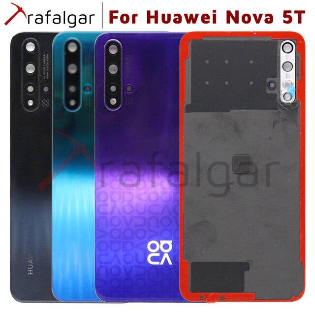 Оригинальная задняя крышка батарейного отсека для Huawei Nova 5T, задняя крышка корпуса, задняя панель + объектив камеры для Huawei Nova 5T, Крышка батарейного отсека