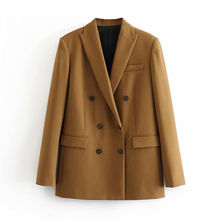 Women Elegant Long Sleeve Double Breasted Blazer Jacket Casual Solid Female Chic