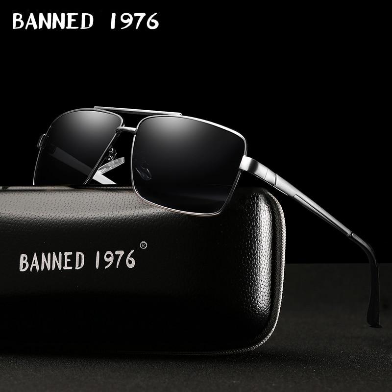 BANNED Fashion Sunglasses Men Polarized Sunglasses Men Driving Mirror Coating Points Black Frame Eyewear Male Sun Glasses UV400