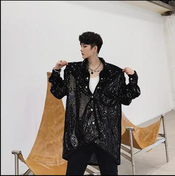 Nightclub trend hair stylist sequin personality long-sleeved shirt Korean casual loose short short men's shirt