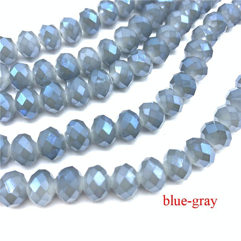 3X4/4X6/6X8/8X10 мм хрустальные бусины Рондель стеклянные бусины граненые хрустальные бусины для изготовления ювелирных изделий Аксессуары перевод Diy - Цвет: Blue-Gray