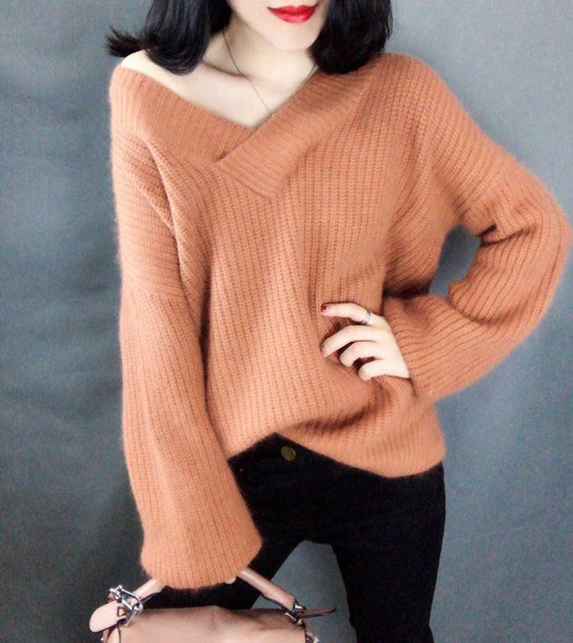 2020 새로운 부드러운 따뜻한 여자 스웨터 V 모양 칼라 부드러운 아크릴 Knited Pullovers 가벼운 무게 모양 안티 수축 여자 스웨터