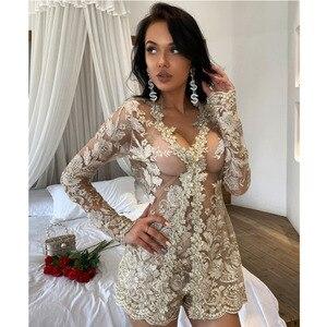 Image 3 - Conjunto de dos piezas formado por Top y pantalón corto, elegante, transparente, con encaje Floral, 2019