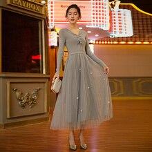 Корейское Стильное трикотажное платье-свитер, осенне-зимнее женское платье с v-образным вырезом и длинным рукавом, вязаные сетчатые платья S-XL