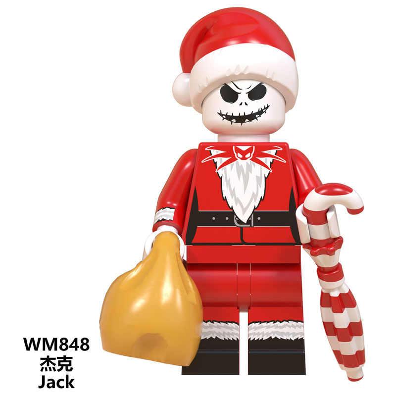 Stitch Natal Inglys Gured Grinch Jack Angel Sonic Santa Claus Blok Bangunan Batu Bata Mainan Anak Wm850