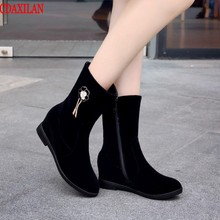 CDAXILAN new to womens ankle boots ladies suede fabric increase within wedge heel  side zipper short autumn winter