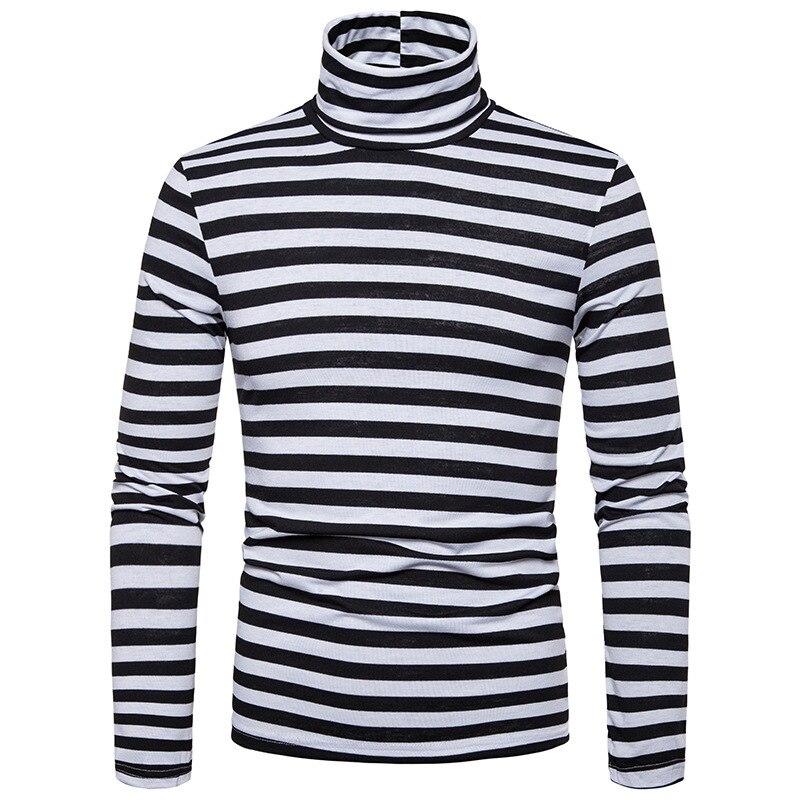2019 Autumn New Men's Large Size Stripes Slim Long-sleeved T-shirt High Collar Men's Casual Bottoming Shirt J772
