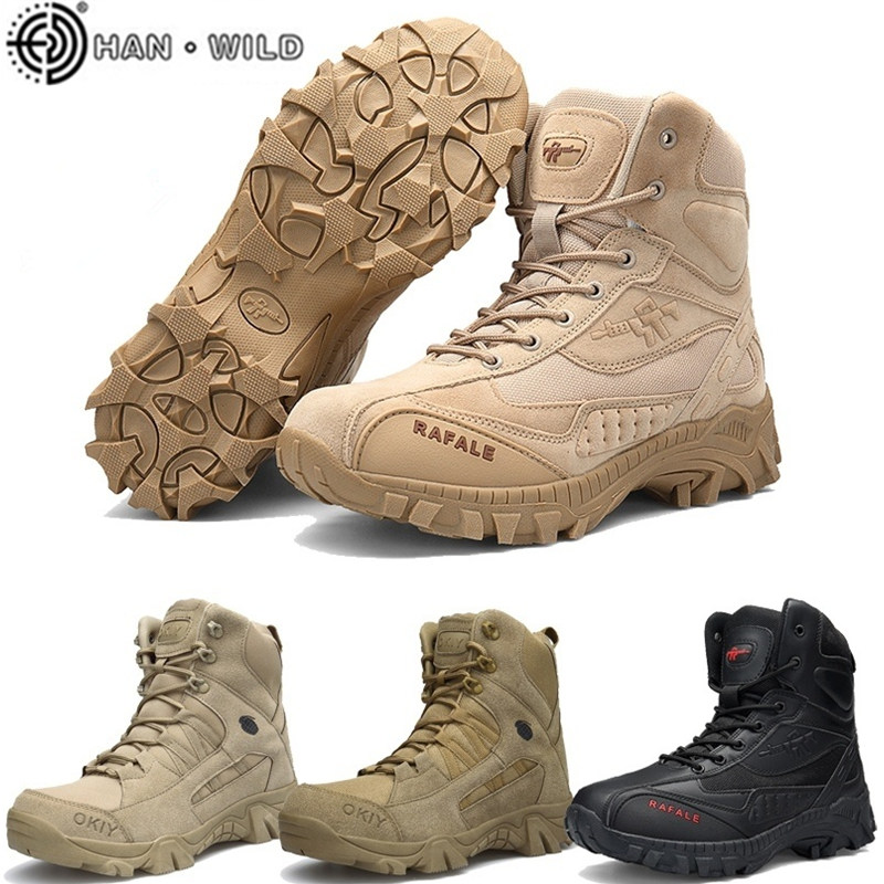Trendy Outdoor Shoes Desert Tactical Men Military Boots Commando Hiking Boots Army Boots Outdoor Waterproof Boots Plus Size