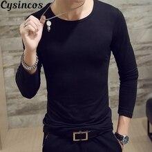 CYSINCOST-мужская рубашка, высокое качество, Осень-зима, Мужская теплая термо Футболка, мужская повседневная футболка с длинным рукавом и круглым вырезом
