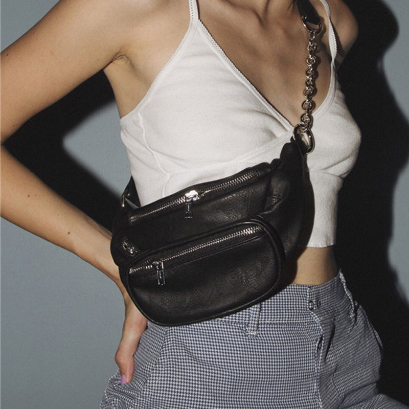 Women's Bag Belt Bag Pure Black PU Leather Metal Chain Sum Per Band Fanny Pack Bananka Fashion Wild Satchel Belly Band Waist Bag