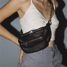 Women's Bag Belt Pure Black PU leather Metal Chain Sum Per Band Fanny Pack Bananka Fashion Wild Satchel Belly Waist