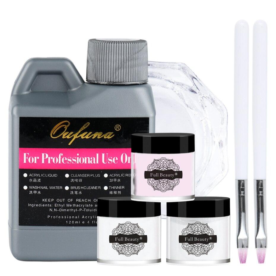 Acrylic Powder Liquid Kit Poly Gel For Nail Art Decorations Flower Builder Powder Nail Pen Crystal Manicure Tools Set JI1573