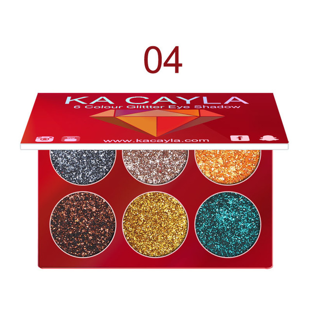 6 Colors Glitter Eyeshadow Palette Diamond Glitter Metallic Pigment Waterproof Long-lasting Eye Shadow Kit Makeup Palette TSLM1 4