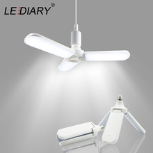 LEDIARY 96-265V 45W E27 LED Bulb Super Bright Foldable Fan Blade Angle Adjustable Ceiling Lamp Home Energy Saving Lights CE RoHS