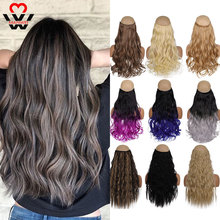 Hairpiece Purple Long High-Temperature Synthetic 5-Clips Red White Grey in MANWEI Curly
