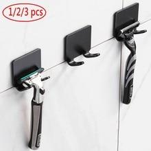 3 pièces poinçon gratuit Support de rasoir rangement douche socle pour rasoir crochet de rangement mur hommes rasage rasoir étagère salle de bain rasoir support mur salle de bain accessoires