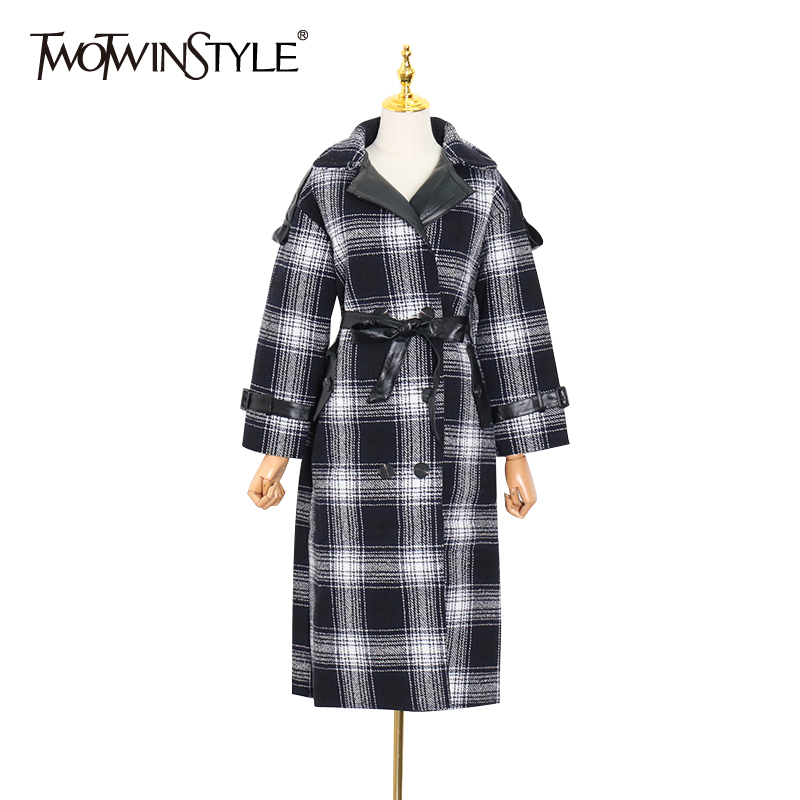 TWOTWINSTYLE Plaid Windbreaker Lapel Collar High Waist Lace Up Bowknot Trench Coats Female 2020 Spring Fashion New Clothing