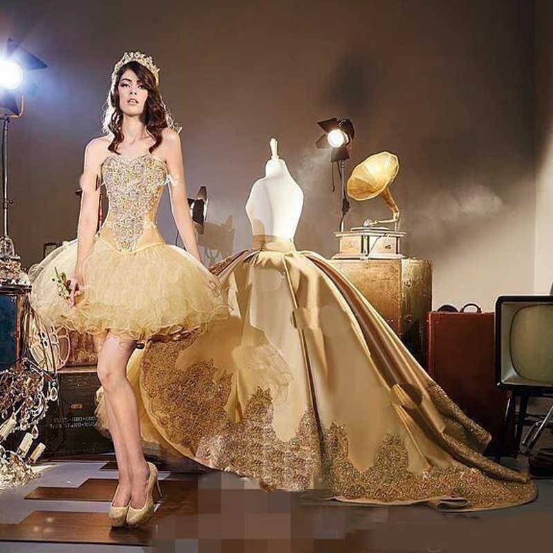 2020 Gold Embrodiery Appliques gothic Quinceanera Kleider mit Abnehmbare kathedrale zug Süße 16 Geburtstag Party Pageant Masque