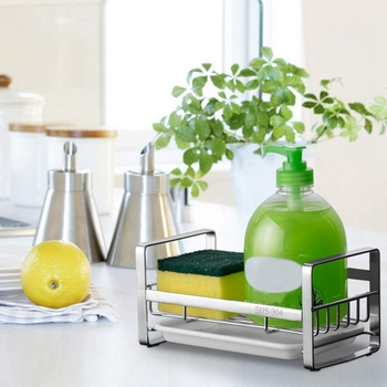 Sponge Holder, and Soap Holder for Kitchen Sink, 304 Stainless Steel Dish Caddy Tray Organizer