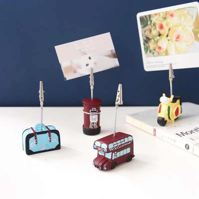 Vintage Resin Paper Message Card Memo Clip Wedding Party Photo Stand  Holder Desk Decorative Gadget Stationery