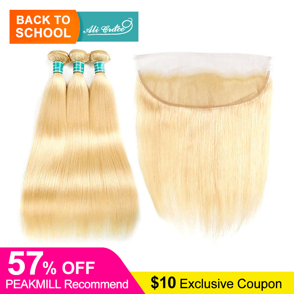 Ali Grace Hair Blonde Bundles With Frontal 13 4 Ear to Ear Remy Blonde Brazilian Straight