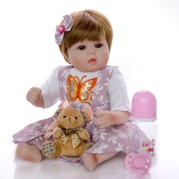 43 CM real Baby doll clothes with little size Reborn Dolls 3/4 Silicone emulation Newborn Baby Toy so cute for Boys Girls gift