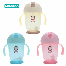 Medoboo 250ml Silicone Baby Water Bottle with Straw Cute Leakproof Handle Infant Milk Bottles Nursing Drinker