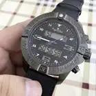 Reloj cronómetro Digital de goma azul de cuero de lona nuevo de lujo para hombre reloj de fibra de carbono negro completo relojes de cristal de zafiro AAA +