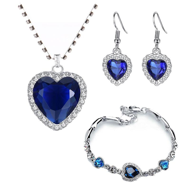 Ocean-Necklaces Jewelry-Sets Zircon Crystal Peach-Heart Wedding-Engagement Blue Women