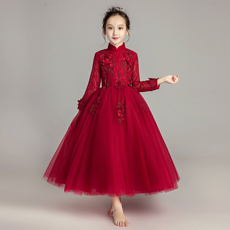 Girls Long Sleeve Birthday Princess Dress Formal Dress Long Skirts Puffy Yarn CHILDREN'S Piano Costume Flower Boys/Flower Girls