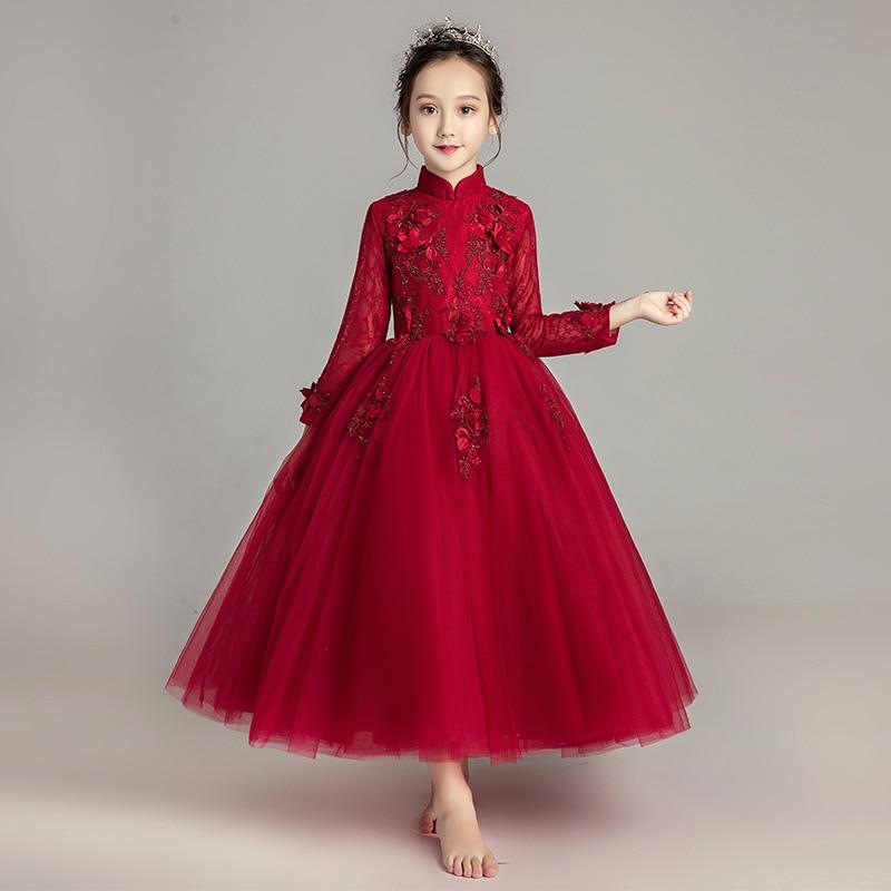 Girls Long Sleeve Birthday Princess Dress Formal Dress Long Skirts Puffy Yarn CHILDREN'S Piano Costume Flower Boys/Flower Girls