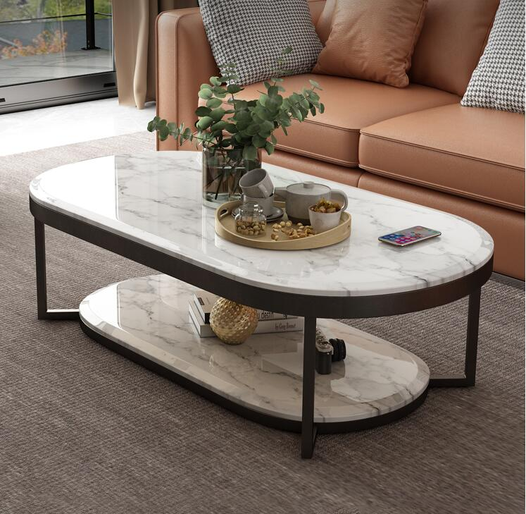 nordic modern marble tv cabinet coffee table combination simple oval double layer tv cabinet coffee table living room interior