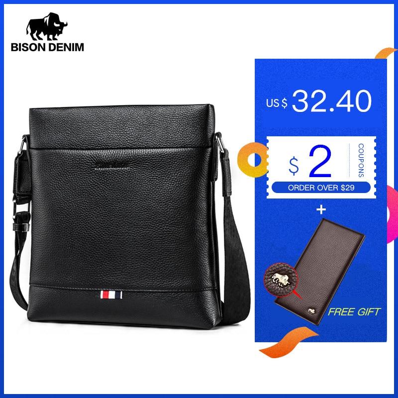 BISON DENIM Genuine Leather Men Bag Casual Business Crossbody Bag iPad Mens Messenger Bag Classic Black bolsas male N2821(China)