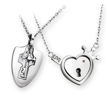 Fashion Titanium Steel Couple Necklace Love Heart Lock Set Pair of Men and Women Pendant Holiday Gift