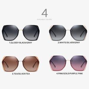 Image 4 - AEVOGUE Neue Frauen Polygon Oversize Mode Reise Polarisierte Sonnenbrille Gradient Lens Fahren Outdoor Brille UV400 AE0818