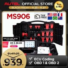 AUTEL MaxiSys MS906เครื่องมือวินิจฉัยอัตโนมัติOBD2เครื่องสแกนเนอร์รถยนต์Key Coding OBD 2 ECU Tester Key Programmer PK MS906BT MS906TS
