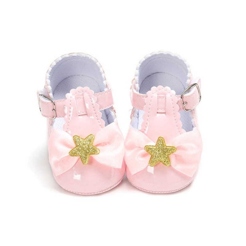 Cute Bow Princess Shoes Baby Girl Shoes Stars Soft Bottom Toddler Girls ShoesChildren Casual Shoes  First Walkers