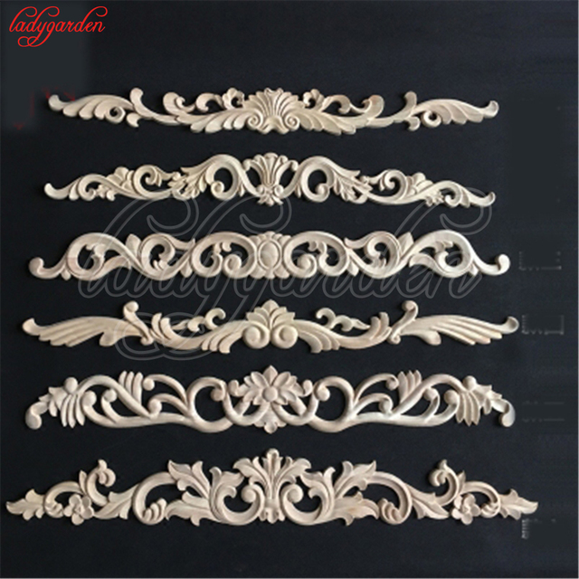 Decorative Woodcarving Decal for Furniture Home Decoration Long Carved Applique Window Door Decor Wooden Figurines Crafts