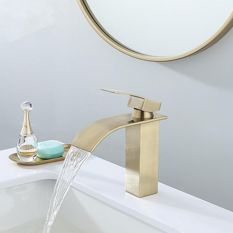 deck mounted brushed gold bathroom