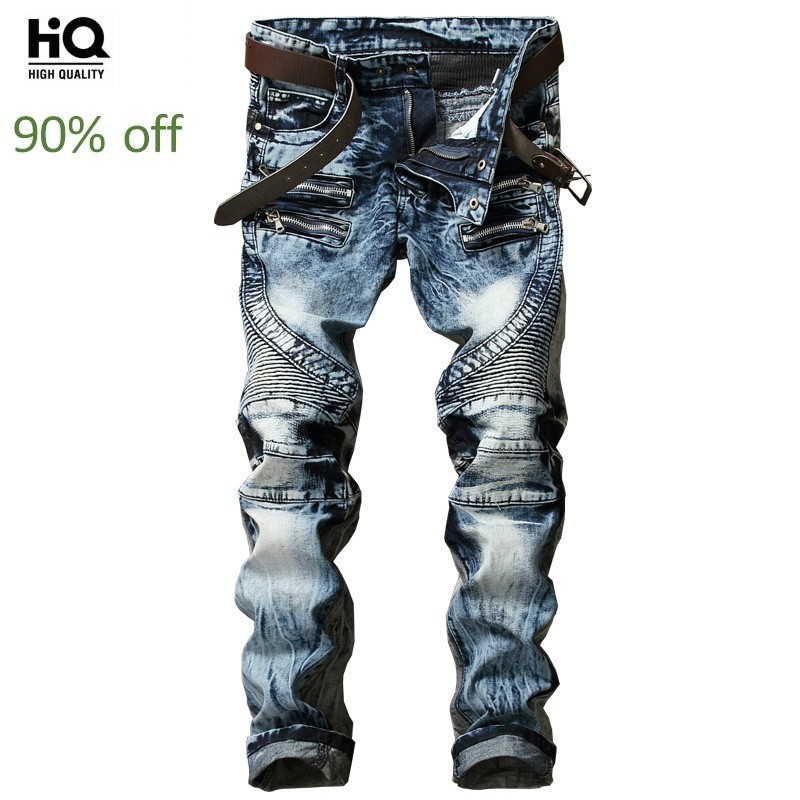2020 New Fashion High Street Mens Biker Jeans Pants Slim Fit Pleated Motorcycle Denim Trousers Multi Zippers Straight Moto Pants