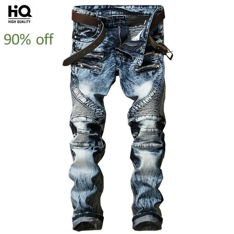 2020 New Fashion High Street Mens Biker Jeans Pants Slim Fit Pleated Motorcycle Denim Trousers Multi Zippers Straight Moto Pants