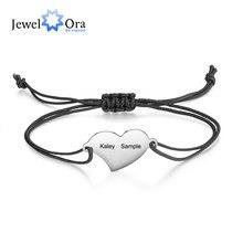 JewelOra-pulsera de cuerda trenzada con grabado personalizado para mujer, brazalete de acero inoxidable con 2 nombres, corazón, regalo personalizado, joyería