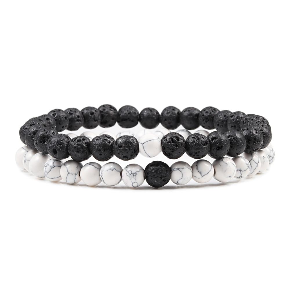 Hot 2pcs/set 7 Style Couples Distance Bracelet Classic Natural Stone White And Black Yin Yang Yoga Beaded Bracelet for Men Women