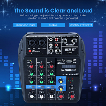 цена на Professional 4 Channels Audio Mixer DJ Sound Mixing Console External Sound Card for Computer Audio Interface 48V Phantom Power