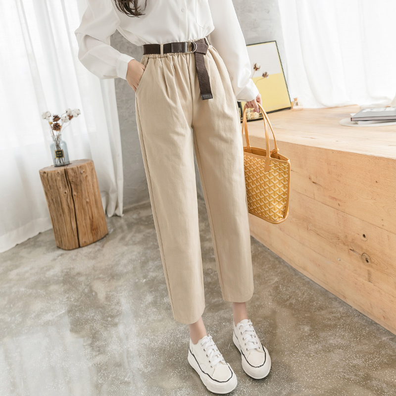 Women Cargo Pants 2020 Spring Summer Female Fashion Elastic Waist Solid Loose Harem Pant Casual Trousers Streetwear With Belt