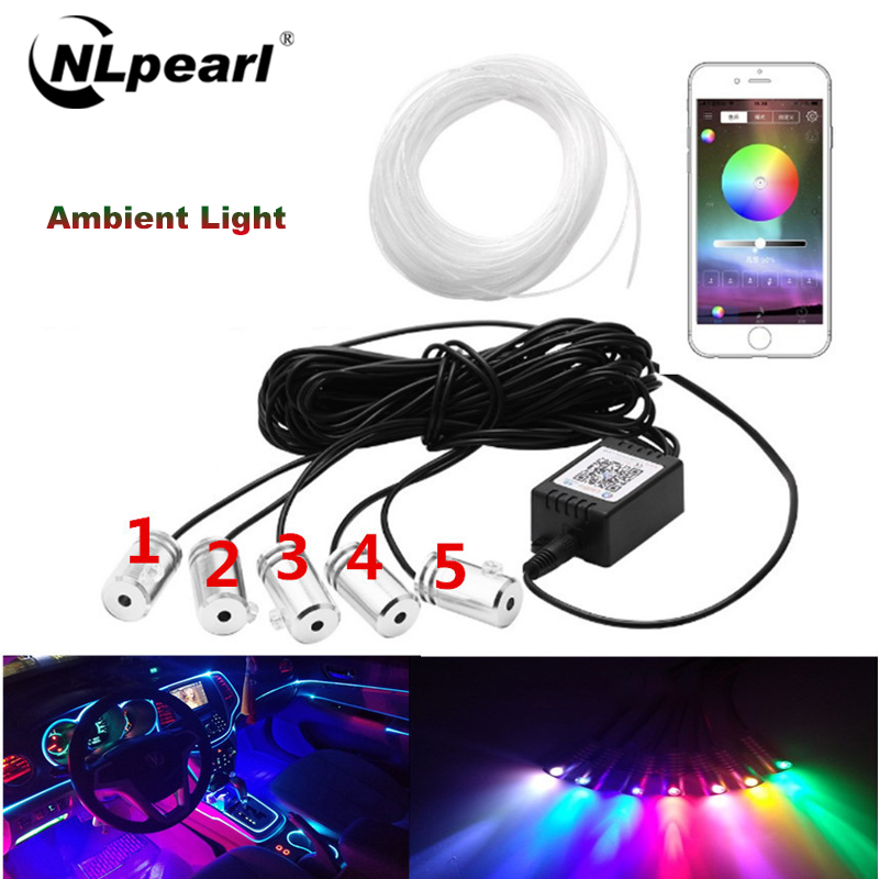 Nlpearl Car Light Assembly Led Strip12V RGB LED Strips Ambient Light LED for Car Interior Atmosphere Light With APP Control
