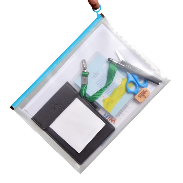 A4 A5 File Folder Transparent File Bag Student Information Stationery Receiving Zipper Bag Plastic Pp Flanging File Bag Pvc Bag